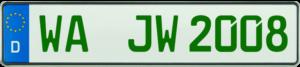Grünes Kennzeichen WA